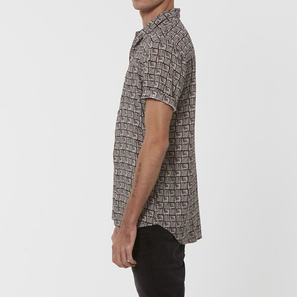 Tribal S/S Shirt Black, BLACK, hi-res