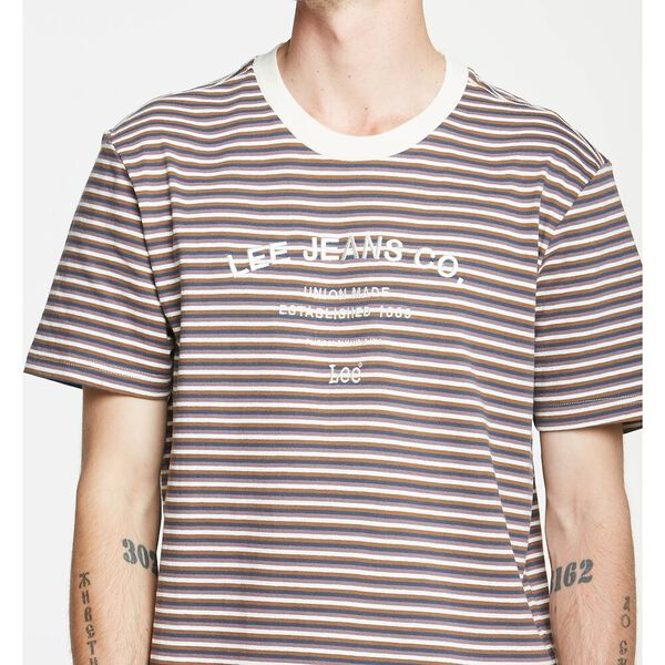 Lee Shibuya Stripe Tee Brown Stripe, BROWN STRIPE, hi-res
