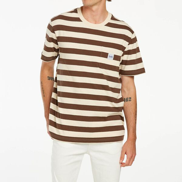LEE POCKET TEE BROWN STRIPE
