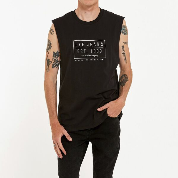 Lee Box Stamp Muscle Washed Black