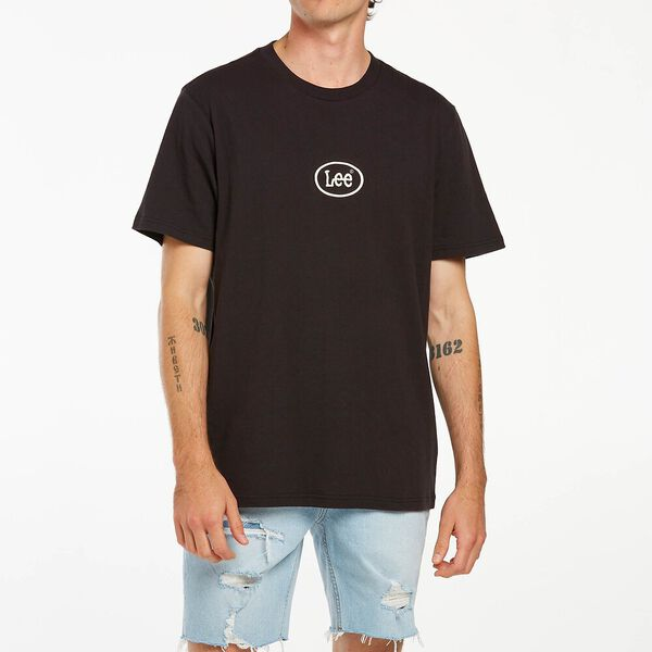Oval Embroidery Tee Black