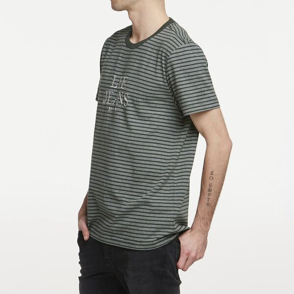 Est 89 Stripe Tee Emerald Stripe, EMERALD STRIPE, hi-res