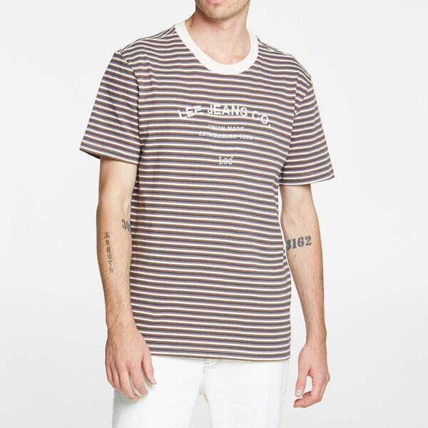 Lee Shibuya Stripe Tee Brown Stripe