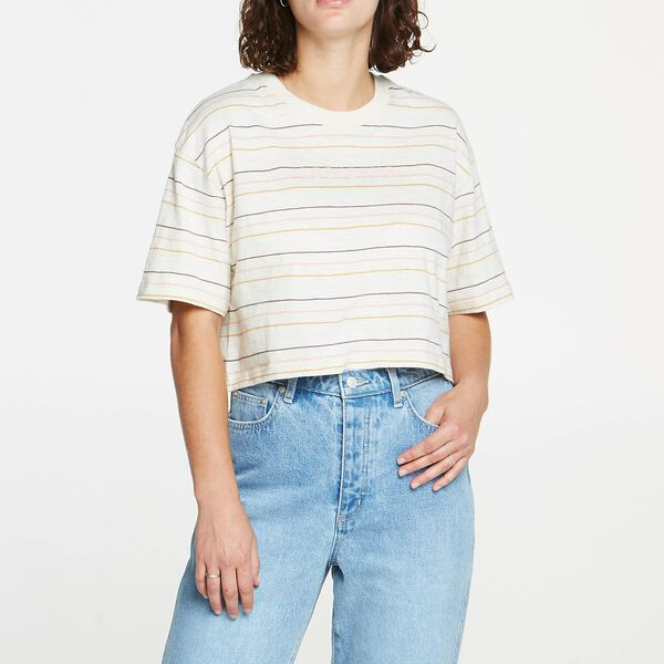 BAGGY CROP TEE THISTLE STRIPE