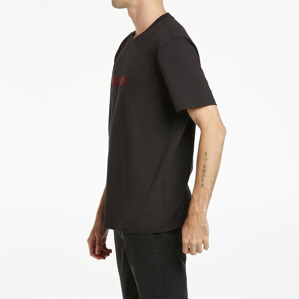 Lee Burnout Logo Tee, Washed Blk Red, hi-res