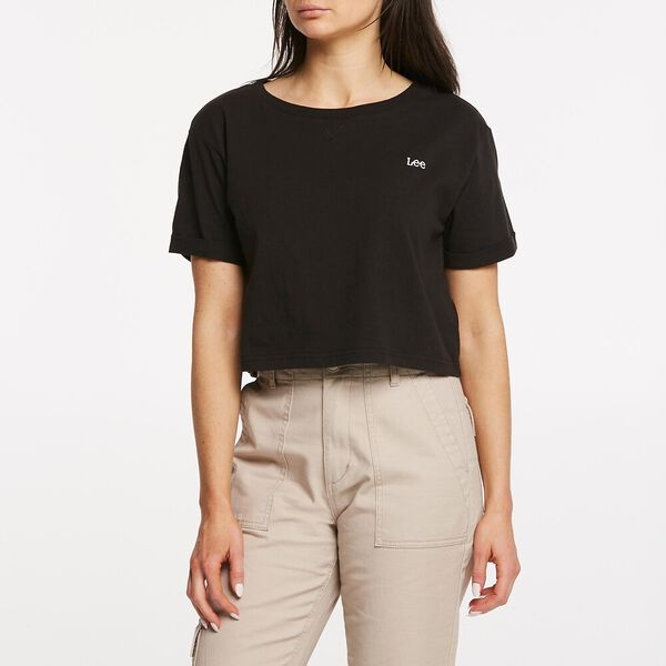 SQUARE CROP TEE WASHED BLACK
