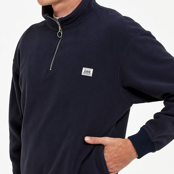 Polar Fleece Zip Sweat Navy, Navy, hi-res