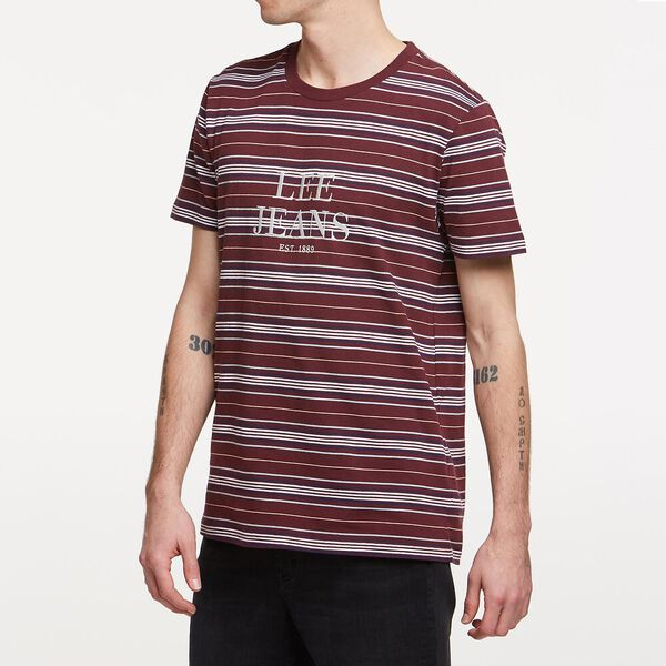 Est 89 Tee Burgundy Stripe, BURGUNDY STRIPE, hi-res