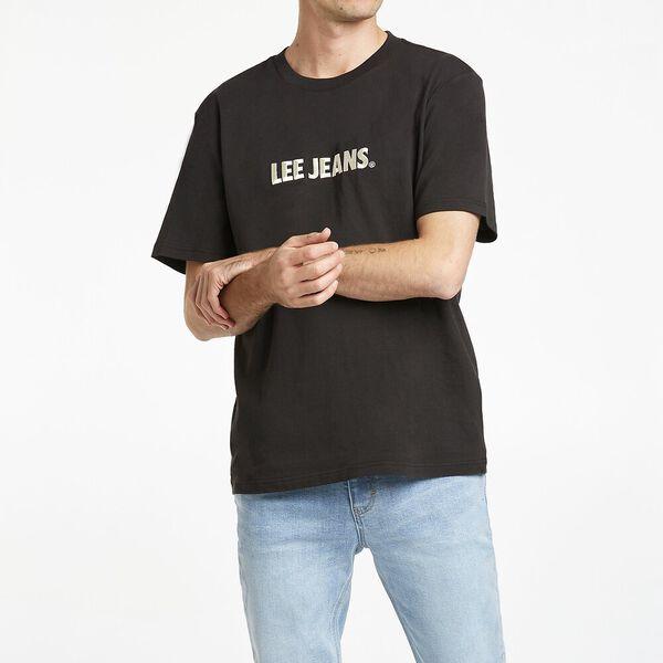 Lee Burnout Logo Tee, Washed Blk White, hi-res
