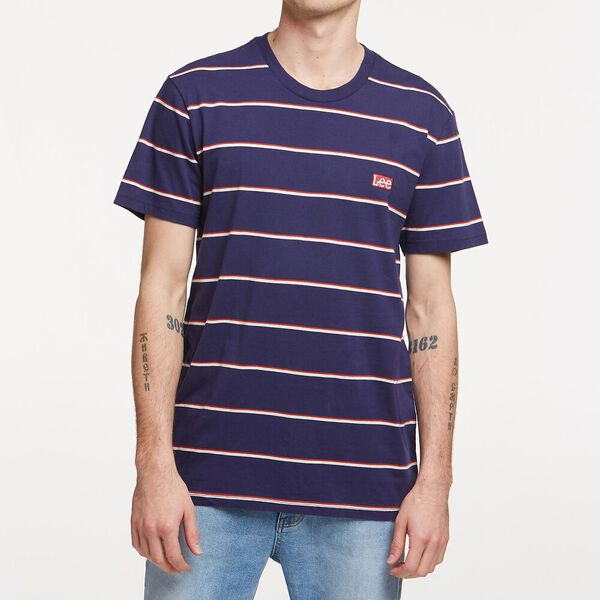 PAIRED BACK STRIPE TEE NAVY/RED