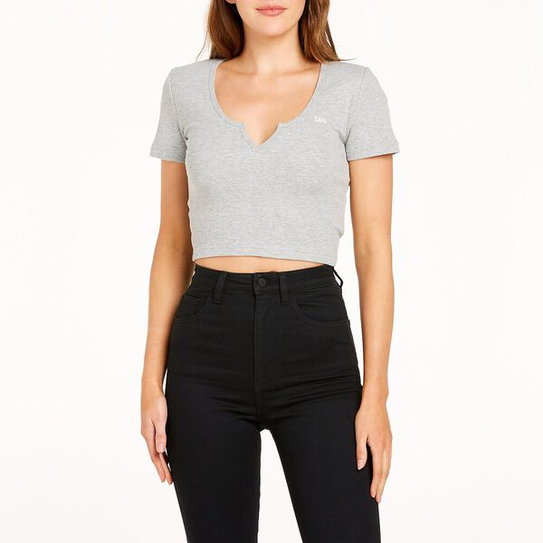 Hailey Ribbed Tee Grey Marle