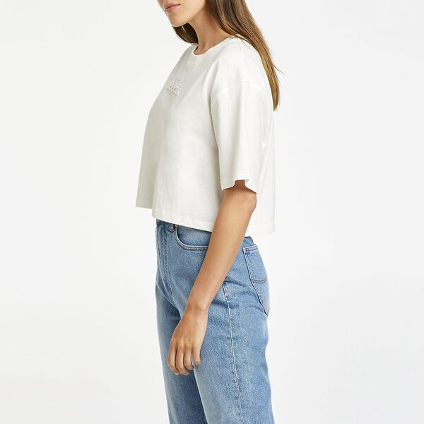 Baggy Crop Tee Recycled Cotton, Vintage White, hi-res