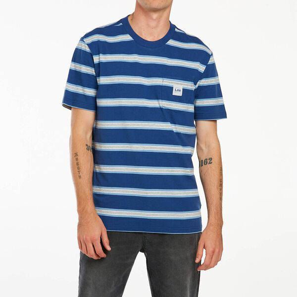 Lee Greydient Pkt Stripe Tee Navy